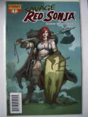 Savage Red Sonja #1 Fiery Red Foil Variant COA Dynamite Entertainment comic book